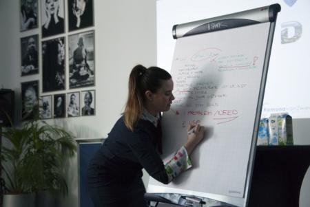 Ramona van Zweden presentatiecoach schrijft op flip over